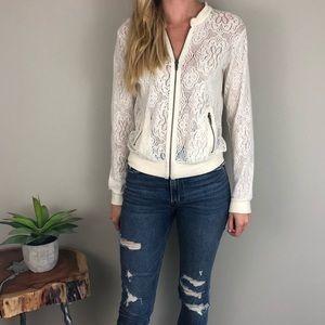 [Jack] Crochet Lace Stretchy Cream Bomber Jacket